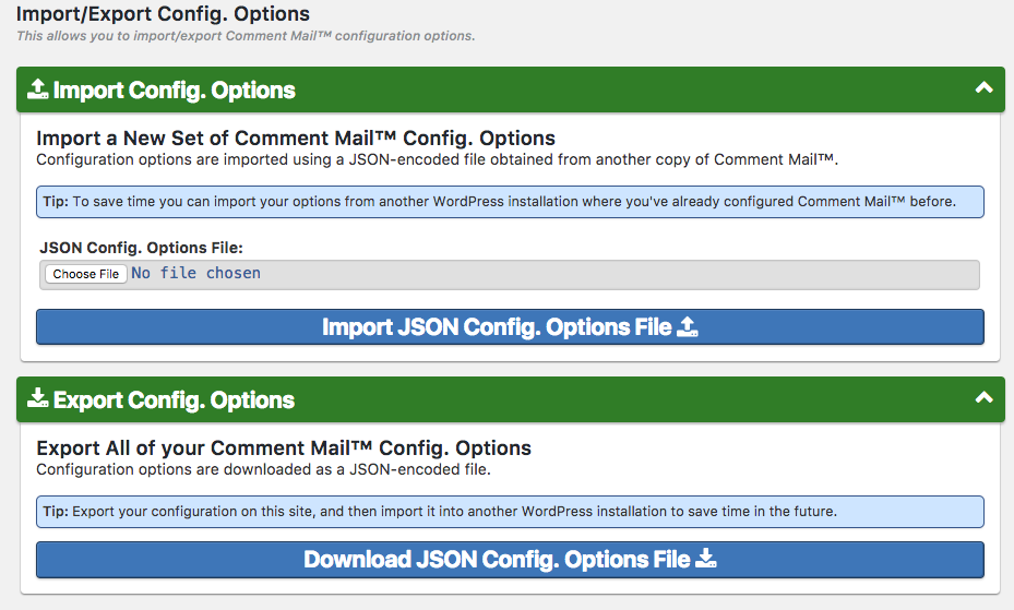 Comment Mail: Import/Export Config