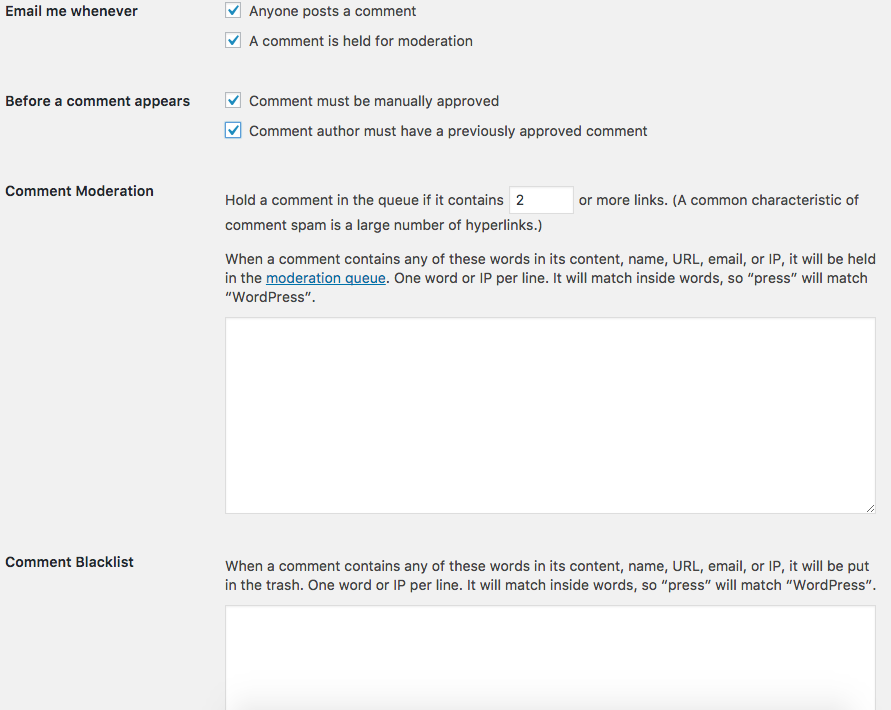 WordPress: Discussion Settings